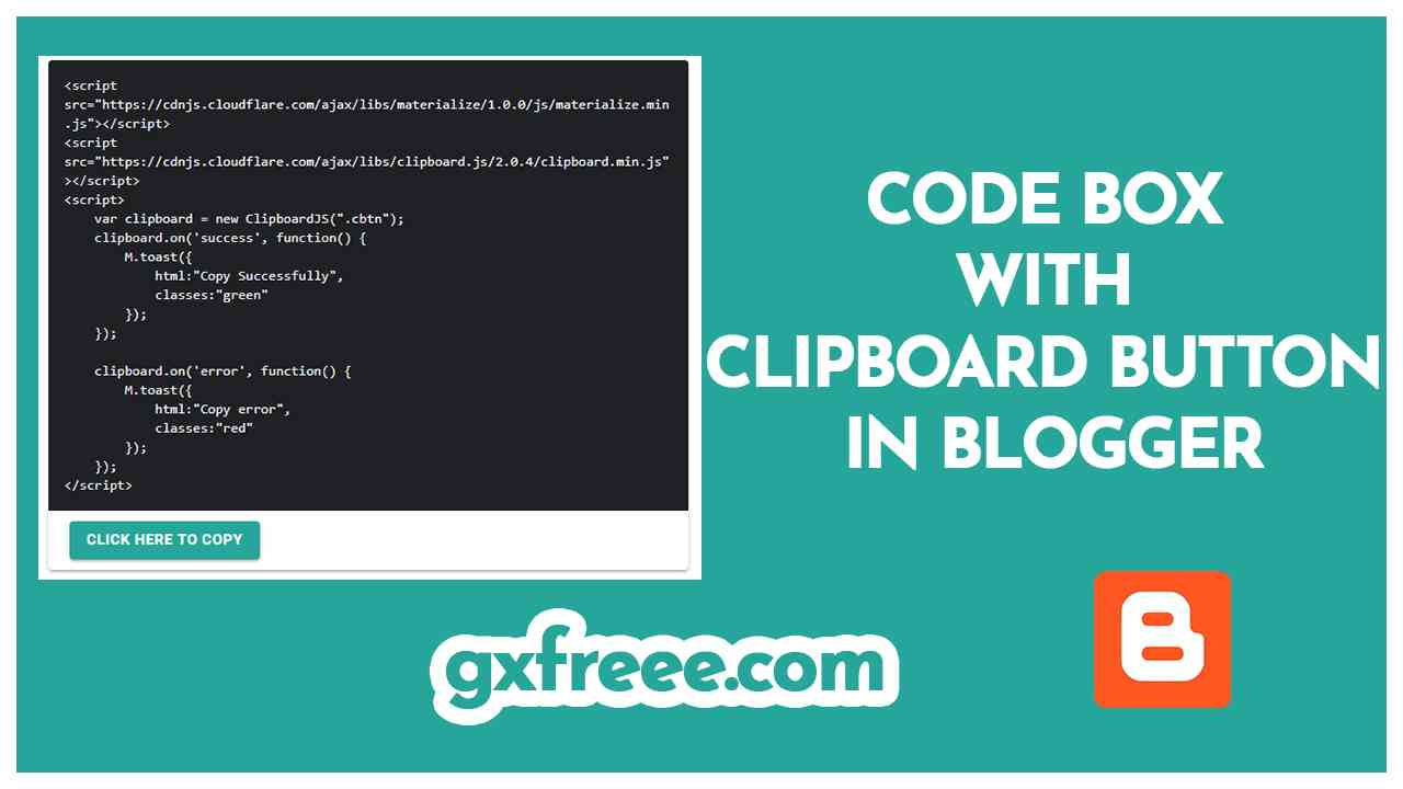 Code Box With copy to Clipboard Button
